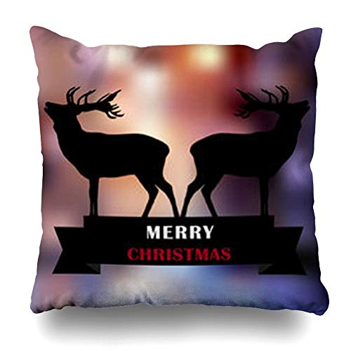 (Ahawoso Throw Pillow Cover Pillowcase Art Red Antler Black Deers Words Merry Styled Christmas Warm Holidays Book Celebration Characters Zippered Square Size 20 x 20 Inches Home Decor Cushion Case)