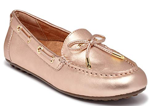 Vionic Women's Honor Virginia Loafer - Ladies Moccasin with Concealed Orthotic Arch Support Rose Gold Metallic 11 W - Metallic Moccasins