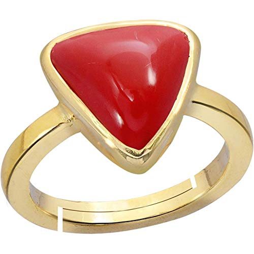 Red Coral Ring 5.00 Ct.(Moonga/Munga Stone Panchadhatu Adjustable Ring for Women) Moonga by GEMS HUB (Red)