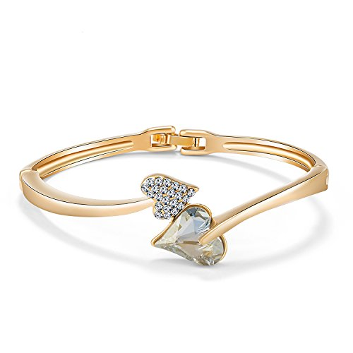 JOUDOO Crystal Heart Shape Bracelet Diamond Gold Plated Bangle Platinum Woman Hand Chain(16K gold)