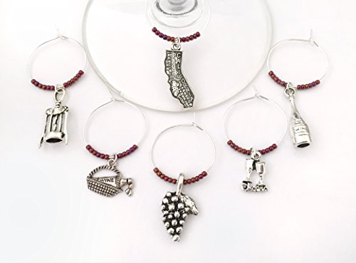 Valley Napa Baskets (California Wine Country Charms, Gift for California Wine lover. Includes California, Grapes, Wine Bottle, Cheers glasses, picnic basket, and corkscrew charms. Set of 6. BURGUNDY BEADS.)