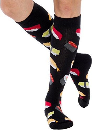 - LISH Fun Running Compression Socks - Graduated 15-25mmHG Colorful Knee High Sport Socks for Men and Women (Sushi, L/XL)