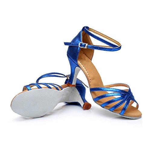 Latino Baile para Tacón Mujer Alto de VESI Zapatos Medio Azul de FwqWEntng