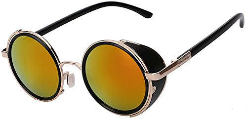 7a93d99eab781 Steampunk Retro Gothic Vintage Hippie Colored Metal Round Circle Frame  Sunglasses Colored Lens OWL