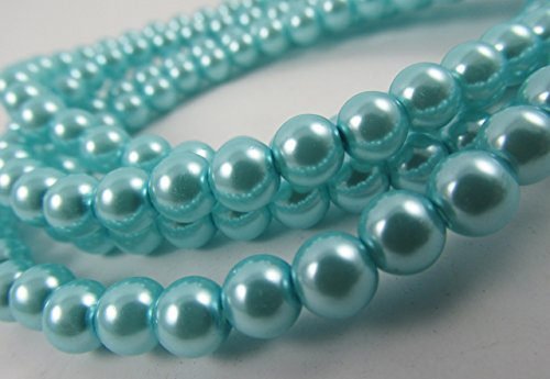 Glass Pearl Finish Round Tiny Beads Light Blue Turquoise for Handmade Jewerly Necklace Bracelet Beading Supplies faux pearls TOP quality C15 (4mm)