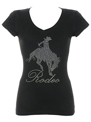 (Women's Rodeo Cowgirl's Rhinestone Bling V-Neck T-Shirts Black 3X)