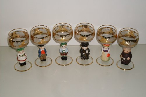 Goebel Vintage Figurine Wine Glasses with Gold Trim/West Germany ()