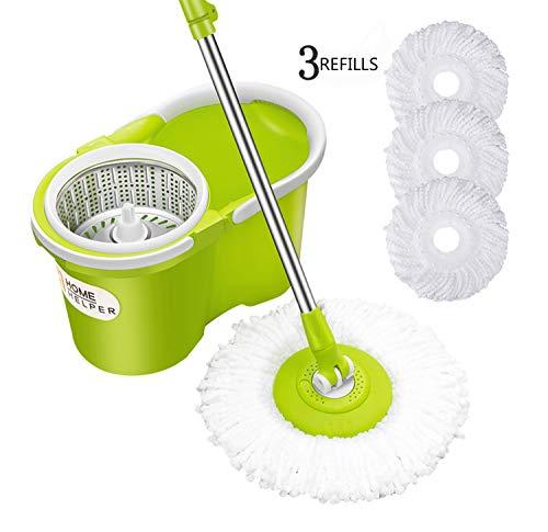HomeHelper Microfiber Spin Mop, Bucket Floor Cleaning System