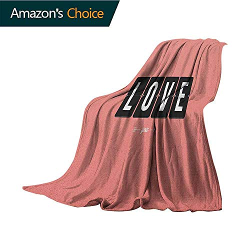 Love Weighted Blanket Adult,Its Love Oclock Mechanical Clock Text with Arrow Motif Vintage Illustration Lightweight Microfiber,All Season for Couch or Bed,60