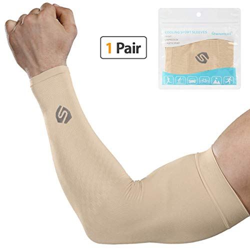 SHINYMOD Cooling Sun Sleeves 2018 Newest Upgraded Version 1 Pair/ 3 Pairs UV Protection Sunblock Arm Tattoo Cover Sleeves for Men Women Cycling Driving Golf Running-a Pair Beige ()