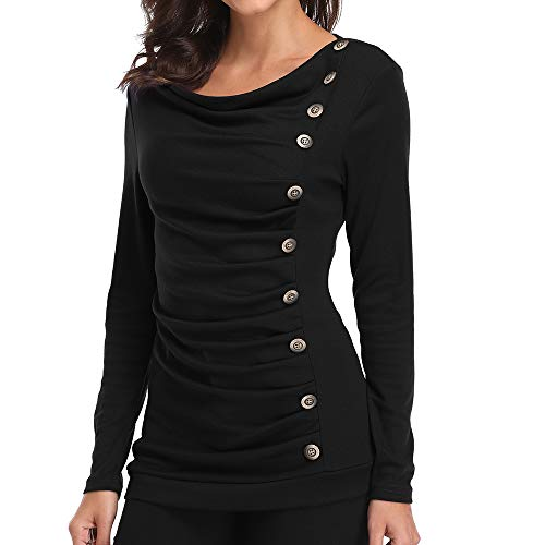e7af12cf Women's Long Sleeves Button Decor Ruched Front Tops Cowl Neck Tunic Blouse