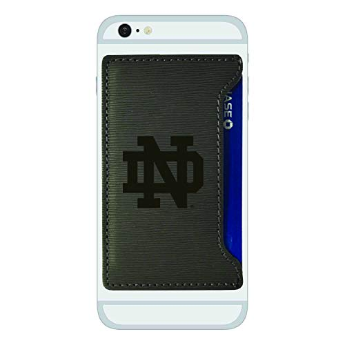 - University of Notre Dame-Textured Faux Leather Cell Phone Card Holder-Grey