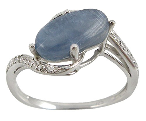 Sterling Silver Ring with Oval Kyanite and Round White CZ Round Stones (BTS-NRB6502/KYA) - Size 8