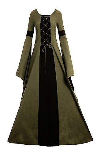 Misassy Womens Medieval Renaissance Long Costumes Dress Lace up Irish Over Cosplay Retro Gowns Army ()