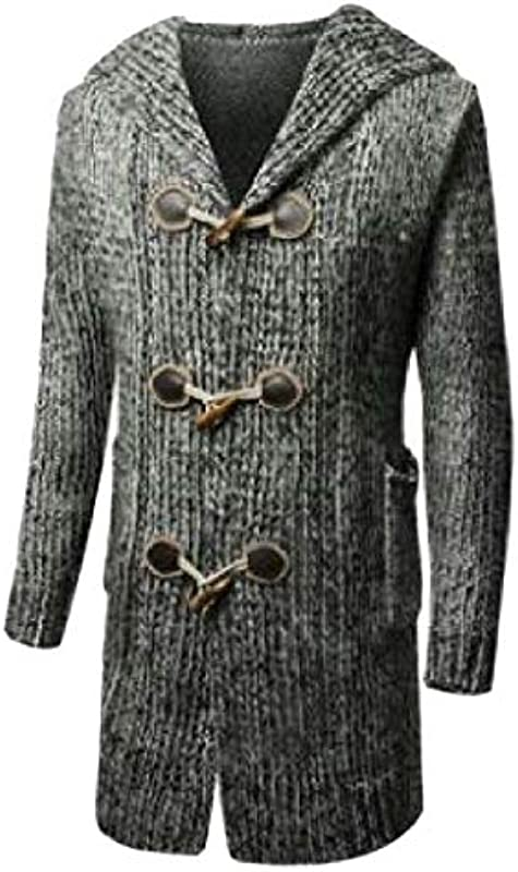GRMO Mens Horn Button Jumper Knitted Relaxed Fit Hooded Fall Winter Cardigan Sweater Coat: Odzież