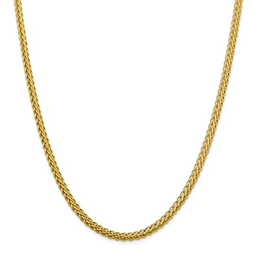 ICE CARATS 14kt Yellow Gold 5.45mm Oval Link Wheat Chain Necklace 20 Inch Pendant Charm Spiga Fine Jewelry Ideal Gifts For Women Gift Set From (Oval Wheat Link)