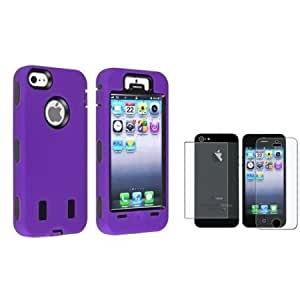 Viesrod eForCity Black Hard/ Purple Silicone Hybrid Case + 2 LCD Kit (Front & Back) Anti-Glare Screen Cover Compatible...