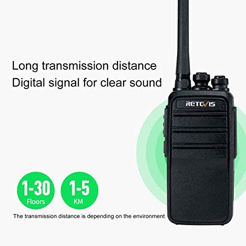 Black, 1 Pack Retevis RT53 DMR Radios Long Range 1024 Channels 800 Contacts UHF Scrambler Emergency Hands Free Digital//Analog Rechargeable Walkie Talkies with DMO 2-Slot Dual Time Slot