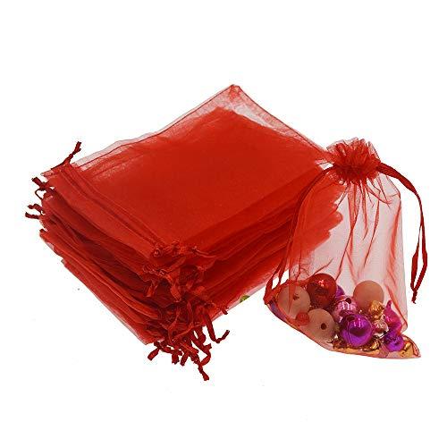 (Lautechco 100Pcs Organza Bags 3x4 inches Red Organza Gift Bags Small Mesh Bags Drawstring Gift Bags Christmas Drawstring Organza Gift Bags (3x4 inches Red))