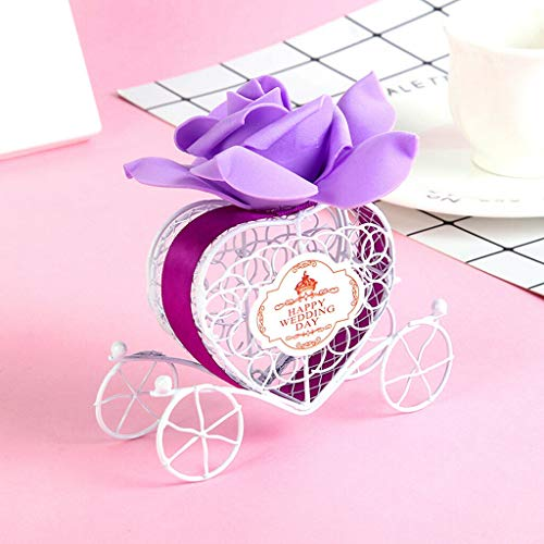 BROSCO Sweet Love Heart Carriage Candy Chocolate Gift Box Happy Wedding Day Party Favor | Color - Purple