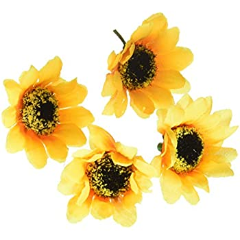 KINWELL 100pcs Mini Artificial Silk Yellow Sunflower Heads 1.8