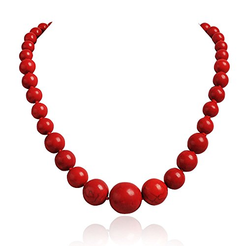 JANE STONE Fashion Elegant Multi-size Coral Red Beaded Funky Necklace Statement Bib Jewelry For Mummy(Fn1270-Red) -