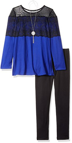 Amy Byer Big Girls' Long Sleeve Lace Top with Legging, Cobalt, Medium