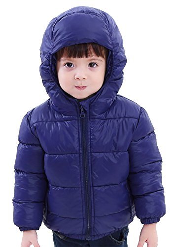 110 Cm Hood (SLUBY Baby Boys Winter Down Coat Cozy Hooded Puff Jacket Cute Winter Coat Navy 4Y 110cm)