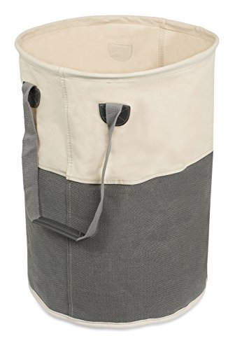 BIRDROCK HOME Round Cloth Laundry Hamper with Handles| Dirty Clothes Sorter | Easy Storage | Foldable | Grey and White Canvas