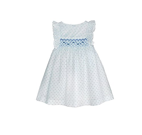 - Pin Dot Smocked Angel-Sleeve Dress - Infant, Toddler Blue