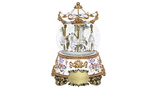 LaCarobe Collections Unique Keepsake Cremation Urn *Exquisite Carousel Horses *Ceremonial Dressage with Ribbons and Flowers Timeless Classic Memorial Urn Humble Handcrafted Comforting Infant/Child -
