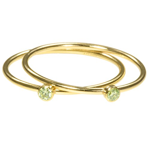 uGems 2 14K Gold Filled Lime Green CZ Stacking Rings Size 7 ()