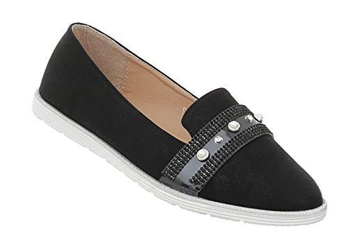Damen Schuhe Halbschuhe Slipper Schwarz