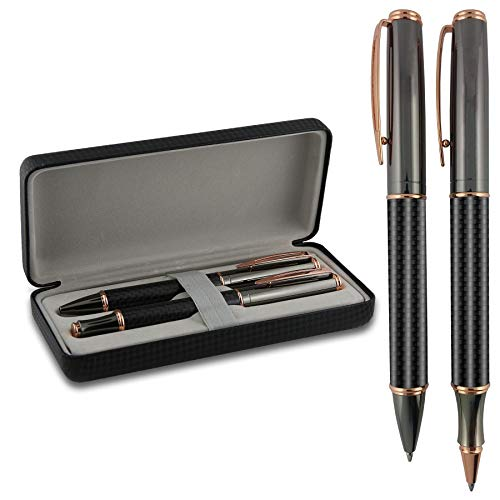 - Roller & Ballpoint Pen Gift Box Set - Twist Action Metal Rollerball - Carbon Fiber Barrel Ball Point - Gift Box Included - by SyPen