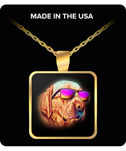 (Labrador Retriever Necklace Charm Pendant Neon Dog Sunglasses - Perfect Gift for Valentine's Day, Mother's Day, Christmas, Birthdays, Anniversaries)