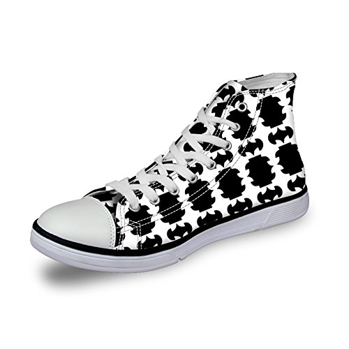 Bigcardesigns High Top Black & White Canvas Shoes Lace Up Sneakers Style 3 bVoxIw