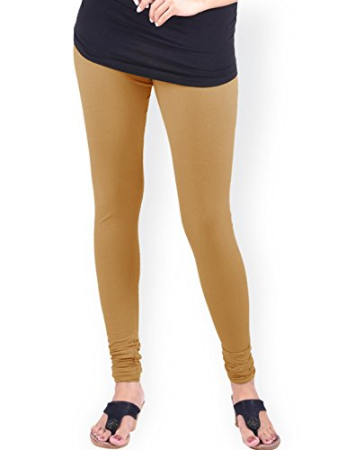 (Ladyline Premium Soft Long Cotton Churidar Tan Brown Leggings Free Size With Double Stitches Plain)