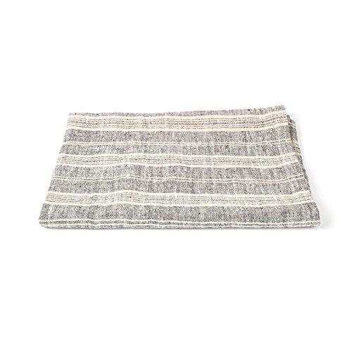 Bath Towel Black Multi Striped Linen 39