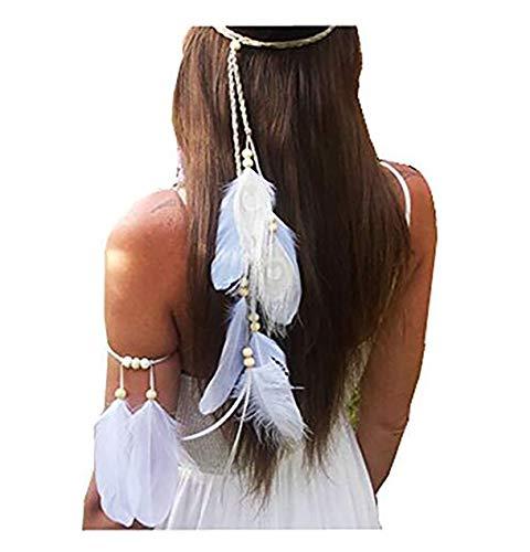 Set of 2 Women Lady Bohemian White Peacock Feather Headband Headdress and Armband Hippie Headpiece Headwear Handmade Tribal Indian Fascinator Feather Hairband Wedding Accessories (Indian Tribal)