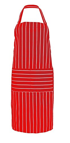 AliceInter Stripe Kitchen Apron for Women Men Useful Cooking Apron Grid Adjustable Chef Cloth Accessories (Red)