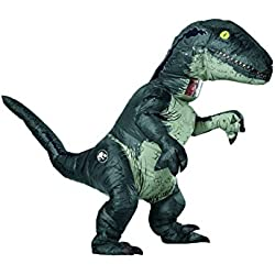 Rubie's Jurassic World Adult Inflatable Dinosaur Costume, Velociraptor With Sound, Standard