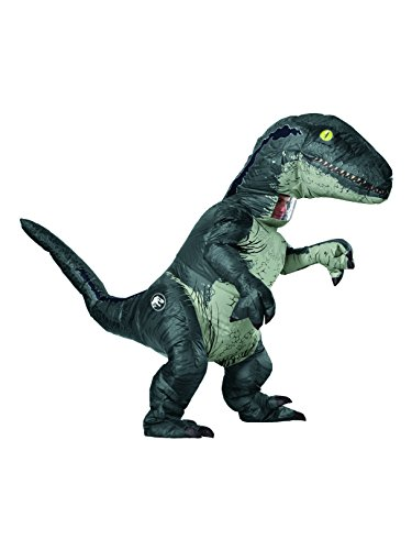 Rubie's Jurassic World Adult Inflatable Dinosaur Costume, Velociraptor With Sound, Standard