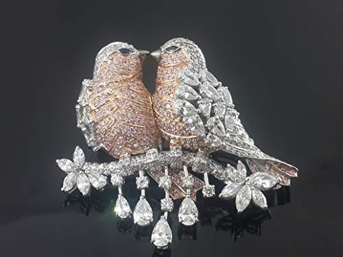 Adsatra Jewelry Gorgeous Studded Two Love Birds CZ Brooch pin Handmade 925 Sterling Silver