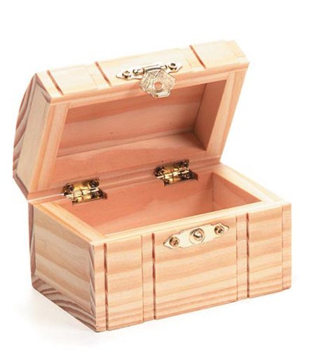 Darice Unfinished Wood Chest Box - Light Unfinished Wood with Curved Top and Clasp - Make Your Own Gift Box, Treasure Chest - Decorate with Paint, Stones, and More - 3.125