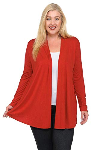 Pastel by Vivienne Women's Long Sleeve Jersey Plus Size Cardigan XXXX-Large Rust by Pastel by Vivienne