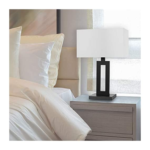 "Globe Electric 67045 D'Alessio Table Lamp, 20"", Matte Black - MODERN DESIGN: a trendy cutout body and rectangular linen shade offers a modern design that will stand the test of time WHITE LINEN SHADE: offering a bright but diffused light, a white linen shade brings a classic element to any space while allowing you to give your lamp and room a warmer or colder look depending on the bulb color temperature you choose PERFECT HEIGHT: a 20-inch height is perfect for a side table, bedside table or entryway table - lamps, bedroom-decor, bedroom - 41f9jKyqlUL. SS570  -"
