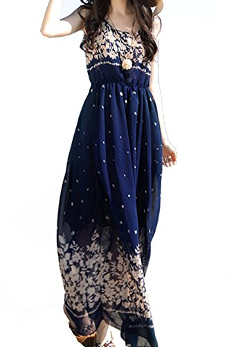 Women Casual Sleeveless Floral Print Chiffon Elastic Waist Summer Beech Maxi Dress