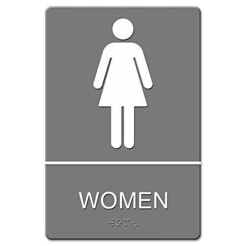 Headline Sign - ADA Sign, Women Restroom Symbol w/Tactile Graphic, Molded Plastic, 6 x 9, Gray 4816 (DMi EA