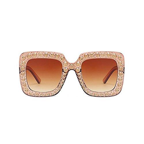 Lunettes Femmes Lunettes Sunglasses À Parasols 67Mm Main La Diamant Mode Lady Brown Cadre UV400 Carré Surdimensionné vI8dxnntH