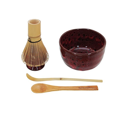 BambooMN Brand - Matcha Bowl Set (Includes Bowl, Rest,Tea Whisk, Chasaku, Tea Spoon) 1 Set Deep Red w/Black by BambooMN